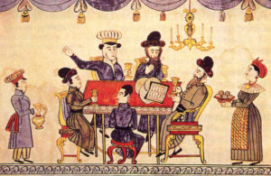 A 19th Century Passover Seder portrayed in a folk print